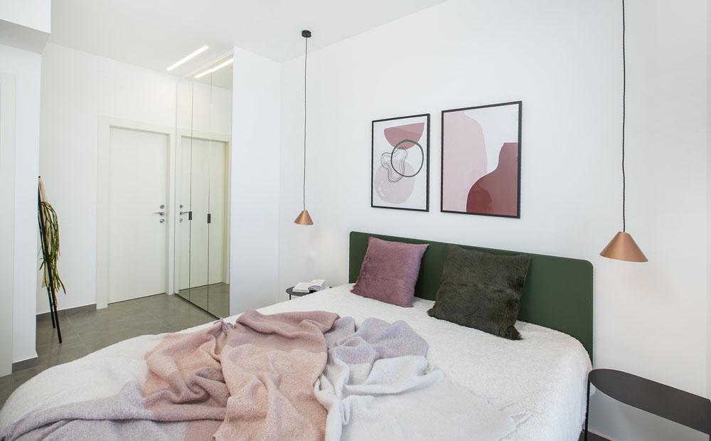 חדר שינה בצבעים ורוד, ירוק