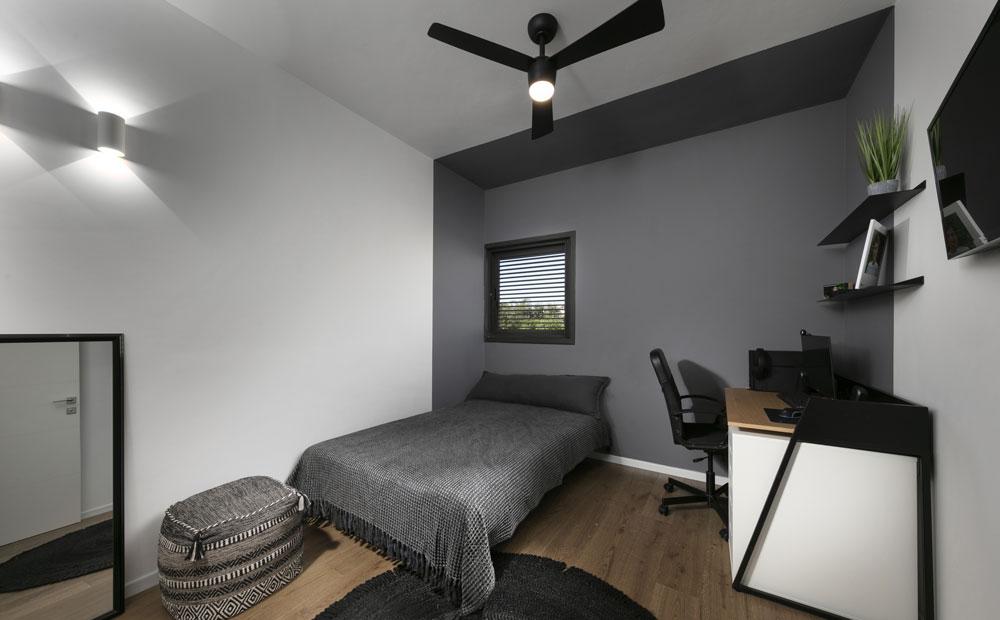 חדר שינה בעיצוב אפור